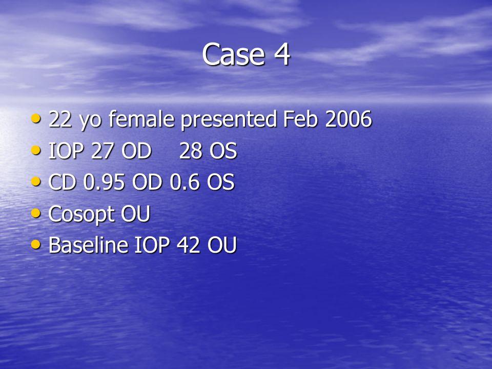 Case 4 22 yo female presented Feb 2006 IOP 27 OD 28 OS
