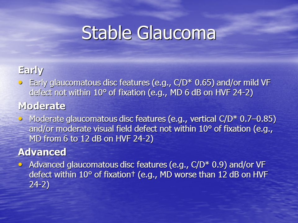Stable Glaucoma Early Moderate Advanced