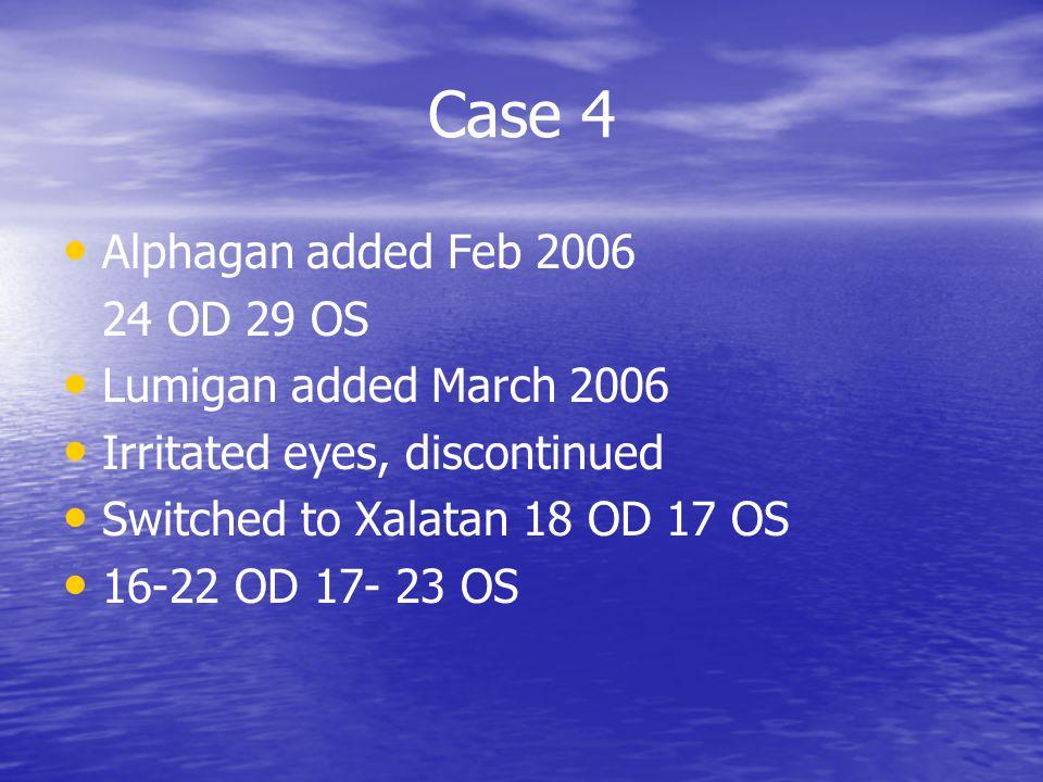 Case 4 Alphagan added Feb 2006 24 OD 29 OS Lumigan added March 2006
