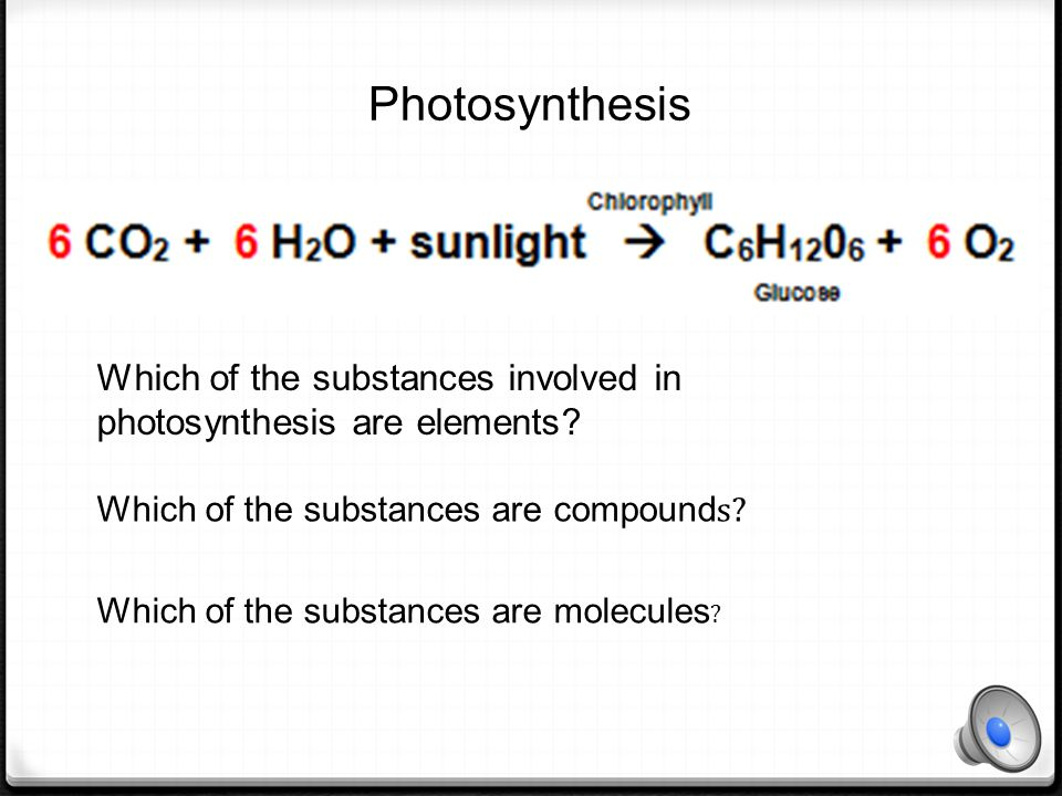 Photosynthesis Which of the substances involved in photosynthesis are elements Which of the substances are compounds