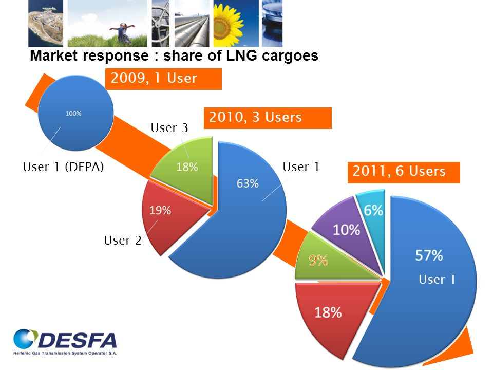 Market response : share of LNG cargoes