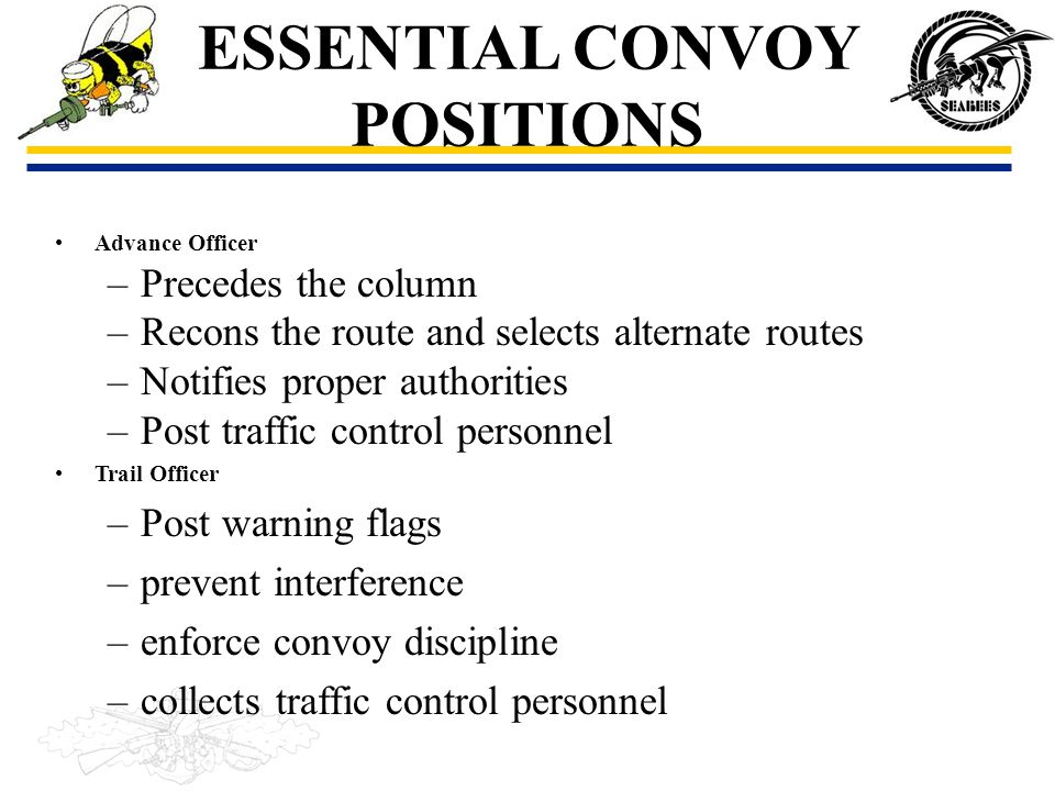 ESSENTIAL CONVOY POSITIONS