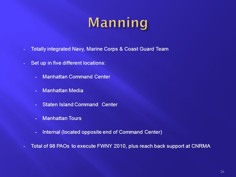 Manning Totally integrated Navy, Marine Corps & Coast Guard Team