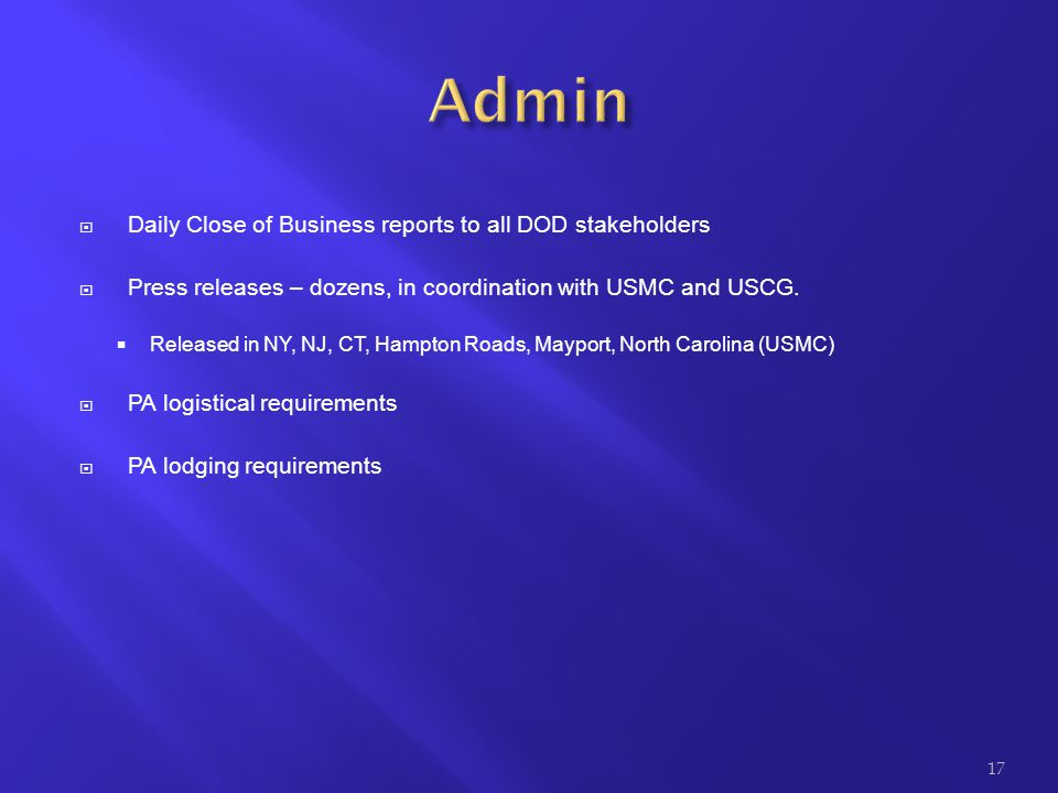 Admin Daily Close of Business reports to all DOD stakeholders