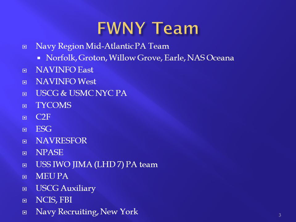 FWNY Team Navy Region Mid-Atlantic PA Team