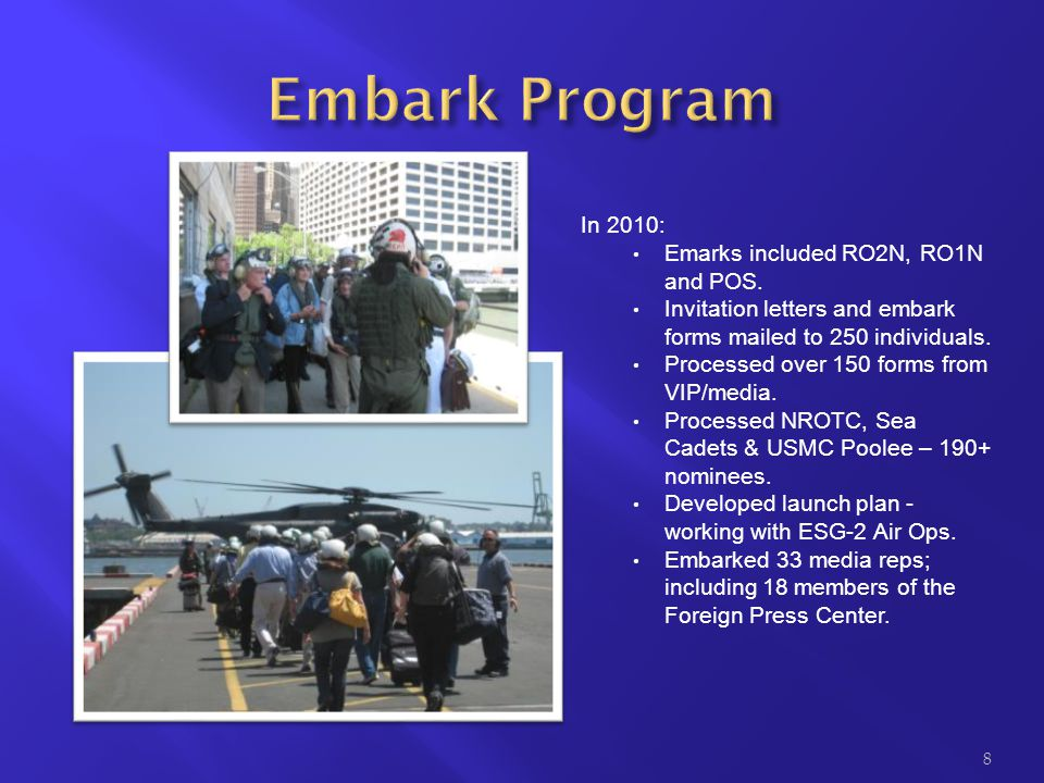 Embark Program In 2010: Emarks included RO2N, RO1N and POS.