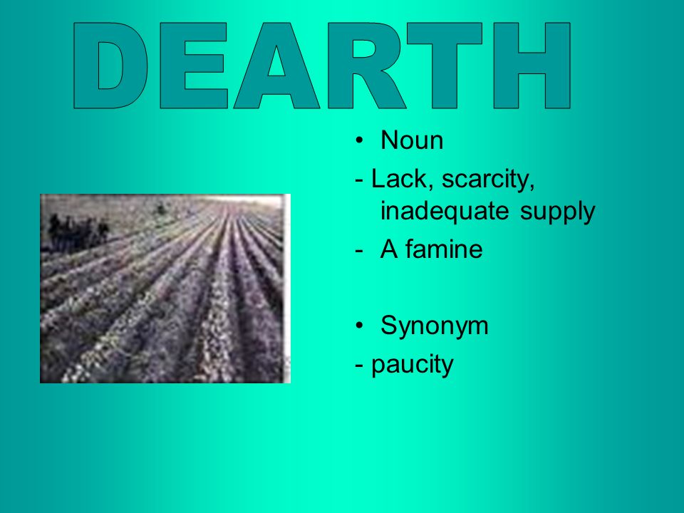 DEARTH Noun - Lack, scarcity, inadequate supply A famine Synonym