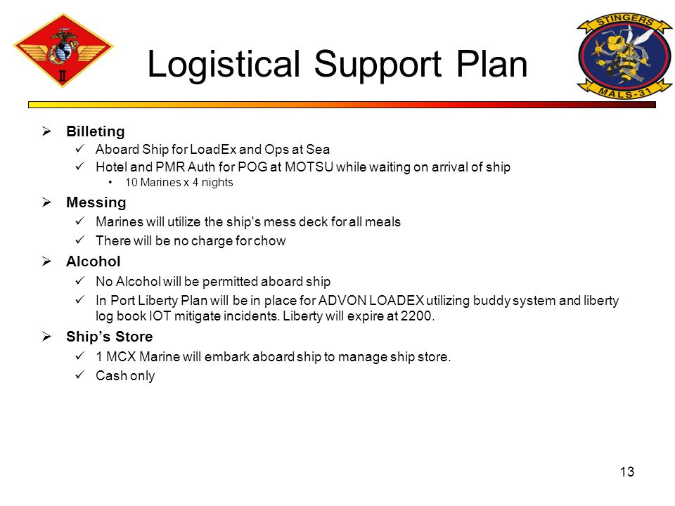 Logistical Support Plan