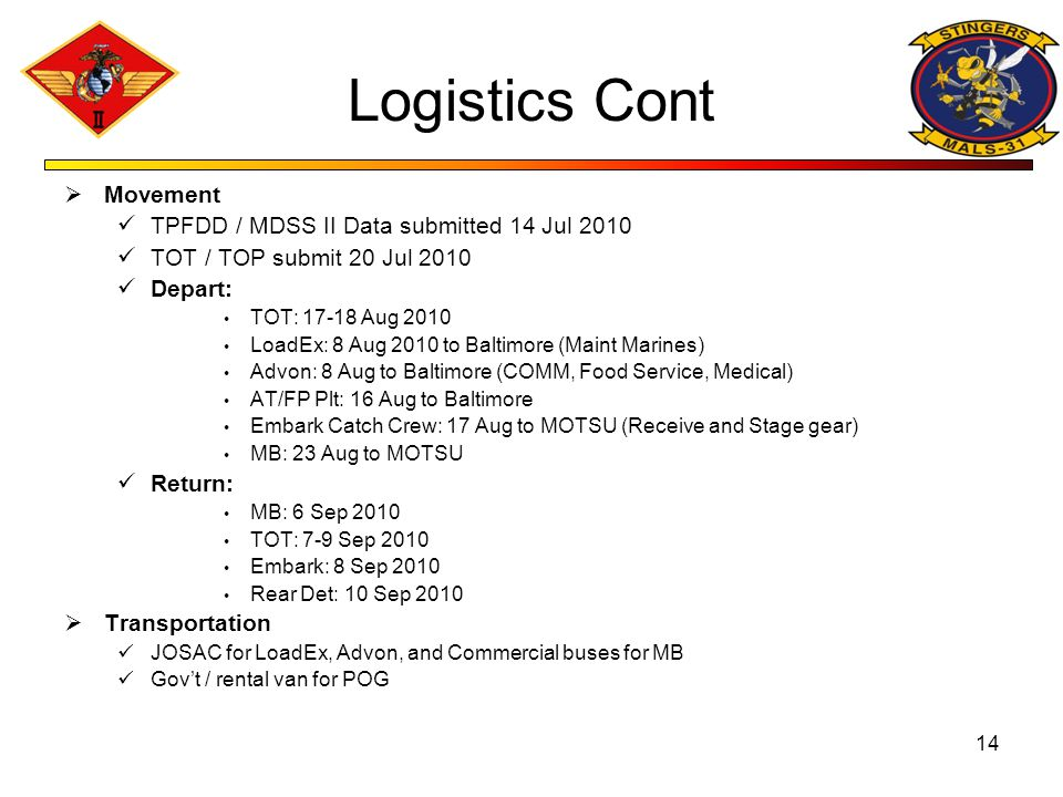Logistics Cont Movement TPFDD / MDSS II Data submitted 14 Jul 2010