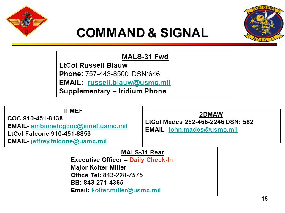 COMMAND & SIGNAL MALS-31 Fwd LtCol Russell Blauw