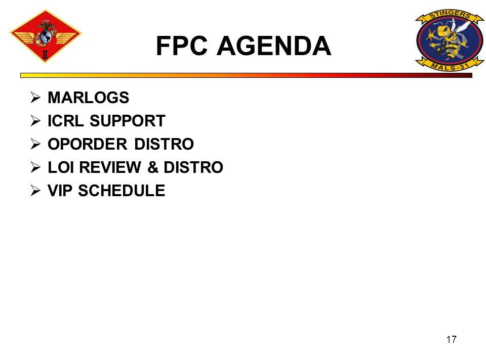 FPC AGENDA MARLOGS ICRL SUPPORT OPORDER DISTRO LOI REVIEW & DISTRO