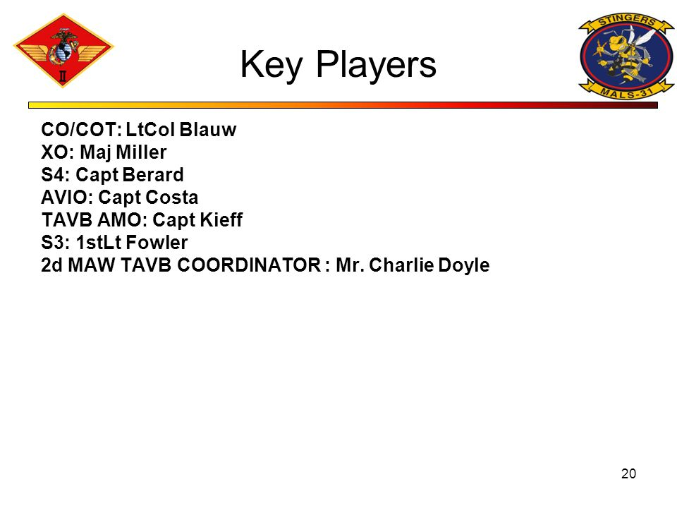 Key Players CO/COT: LtCol Blauw XO: Maj Miller S4: Capt Berard