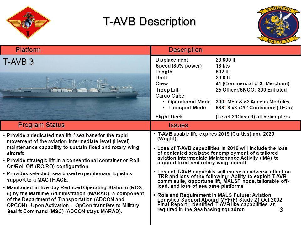 T-AVB Description T-AVB 3 Platform Description Program Status Issues