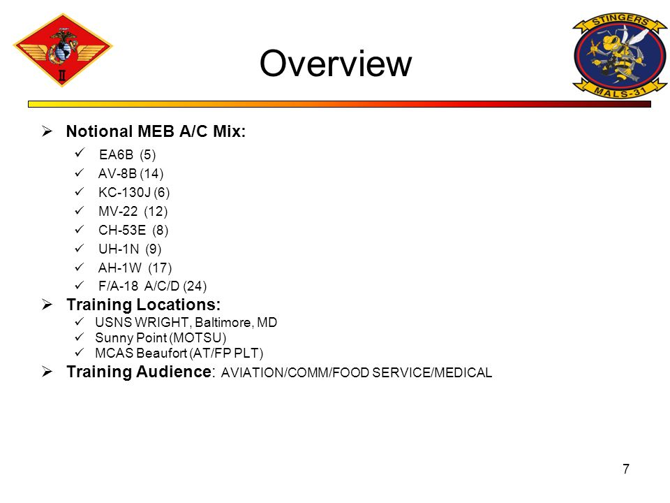 Overview Notional MEB A/C Mix: Training Locations: