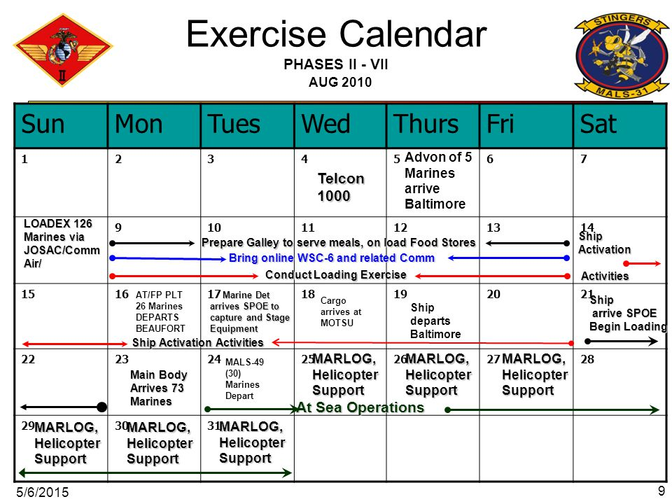 Exercise Calendar PHASES II - VII AUG 2010