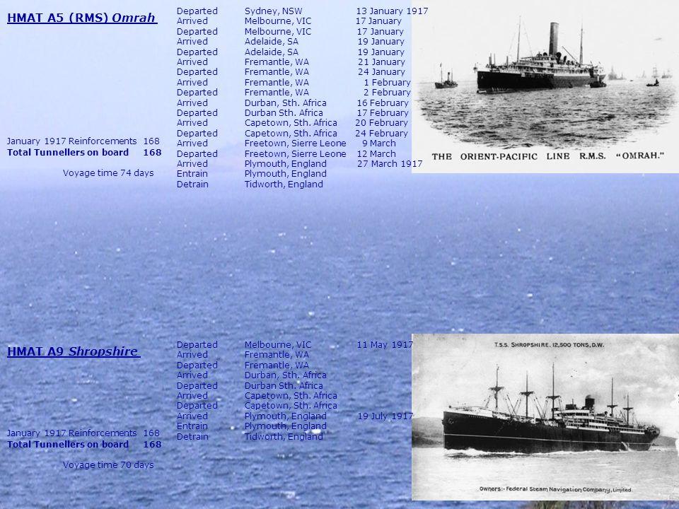 HMAT A5 (RMS) Omrah HMAT A9 Shropshire