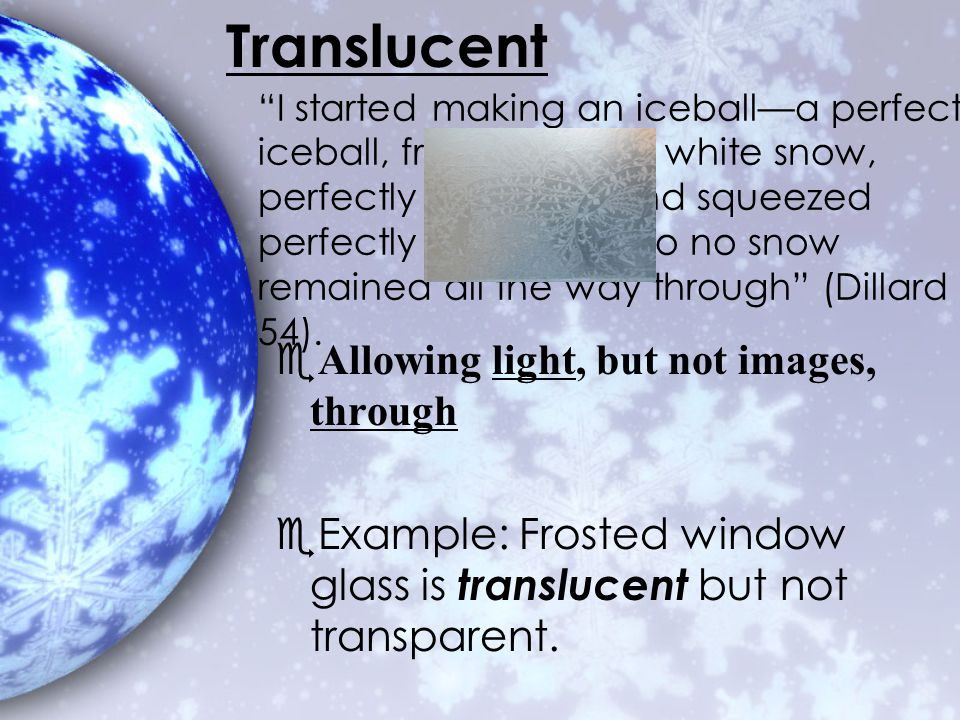 Translucent Allowing light, but not images, through