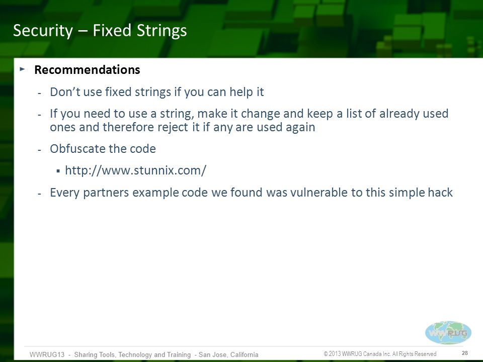 Security – Fixed Strings