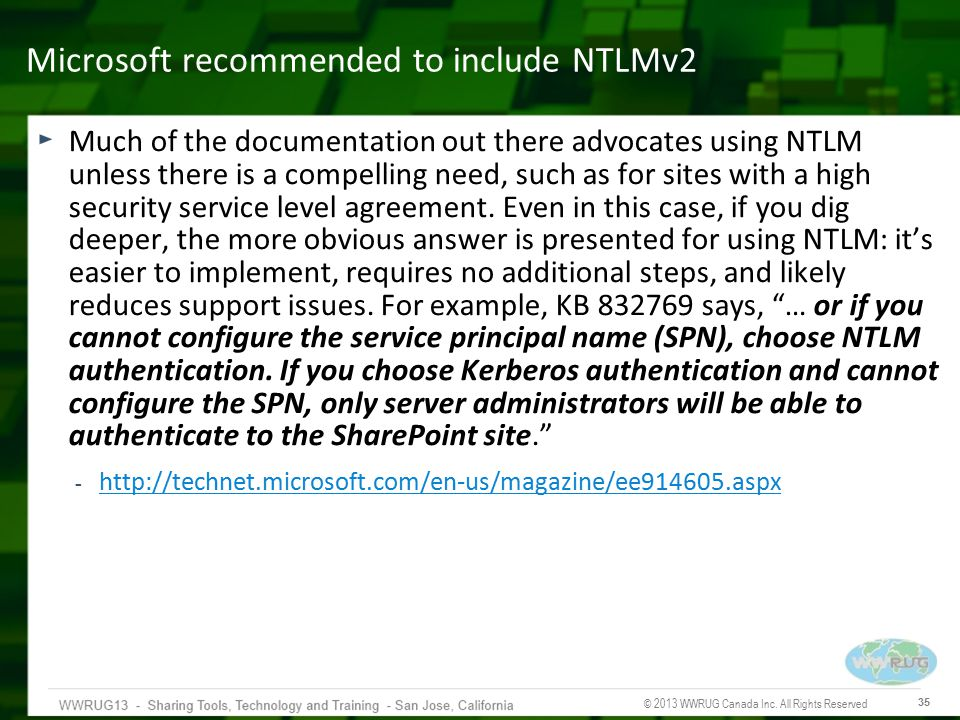 Microsoft recommended to include NTLMv2