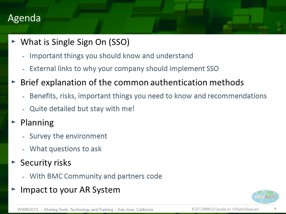 Agenda What is Single Sign On (SSO)
