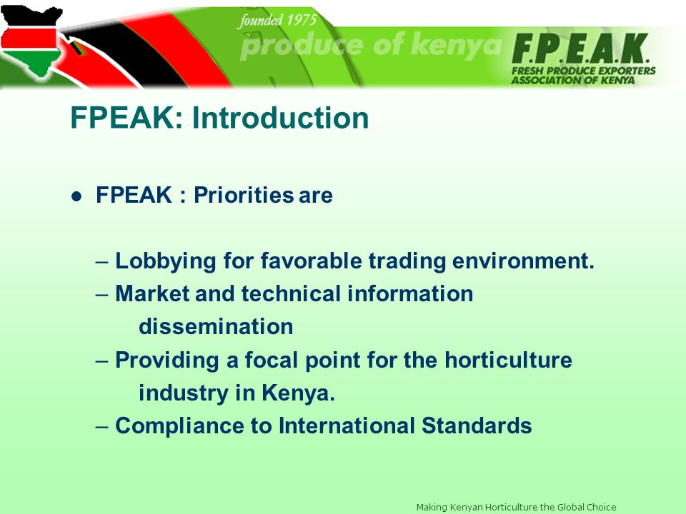 FPEAK: Introduction FPEAK : Priorities are