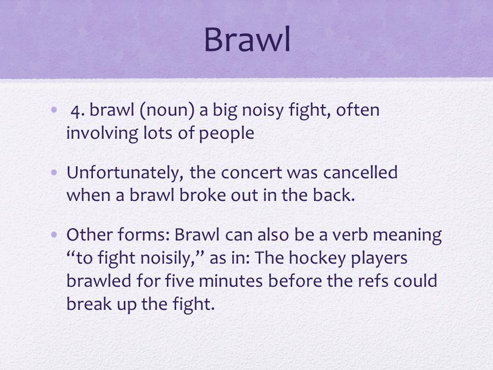 Brawl 4. brawl (noun) a big noisy fight, often involving lots of people.