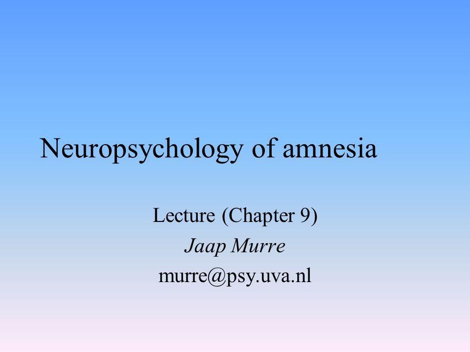 Neuropsychology of amnesia