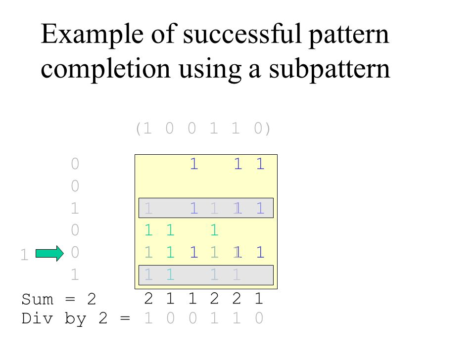 Example of successful pattern completion using a subpattern