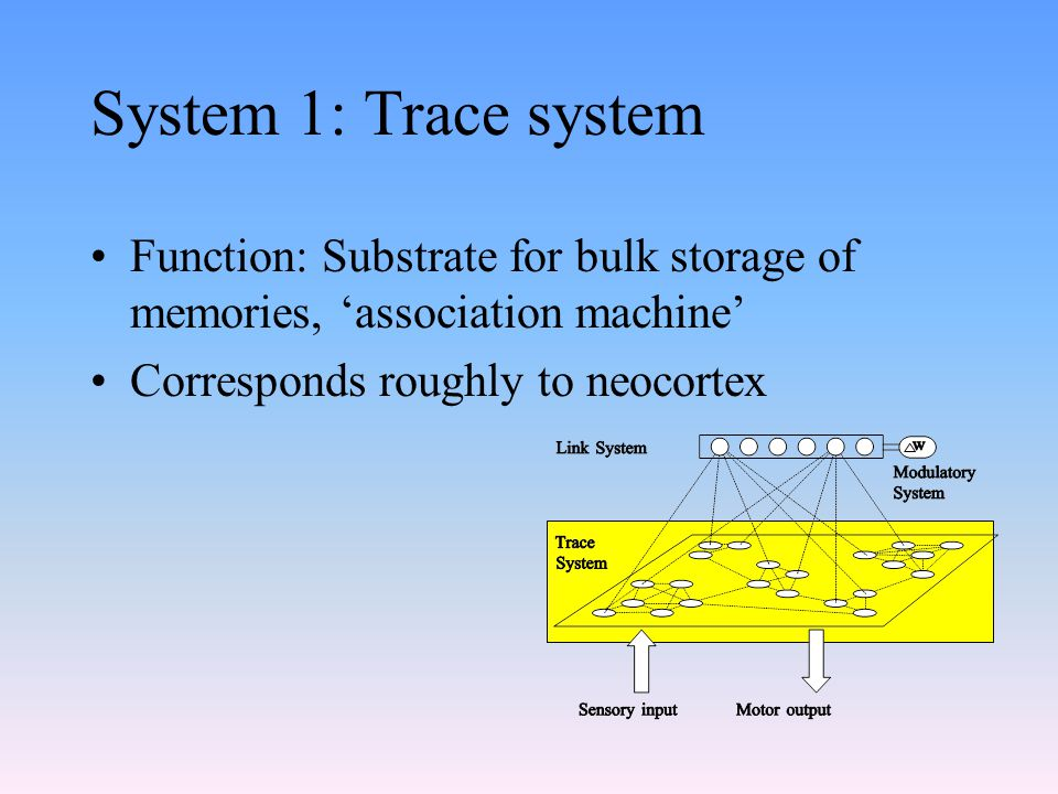 System 1: Trace system Function: Substrate for bulk storage of memories, 'association machine' Corresponds roughly to neocortex.