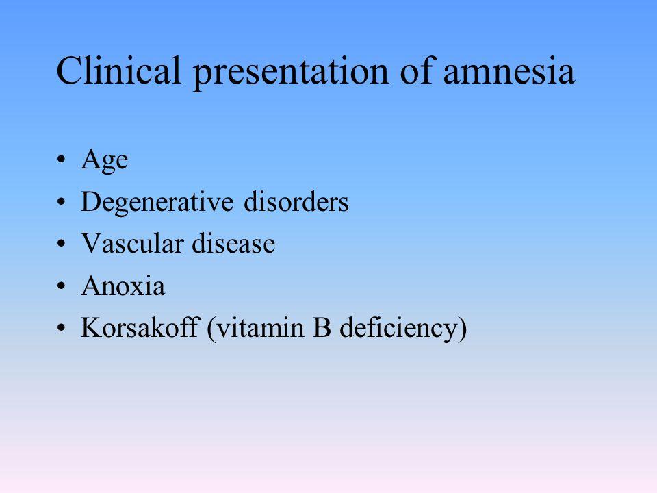 Clinical presentation of amnesia