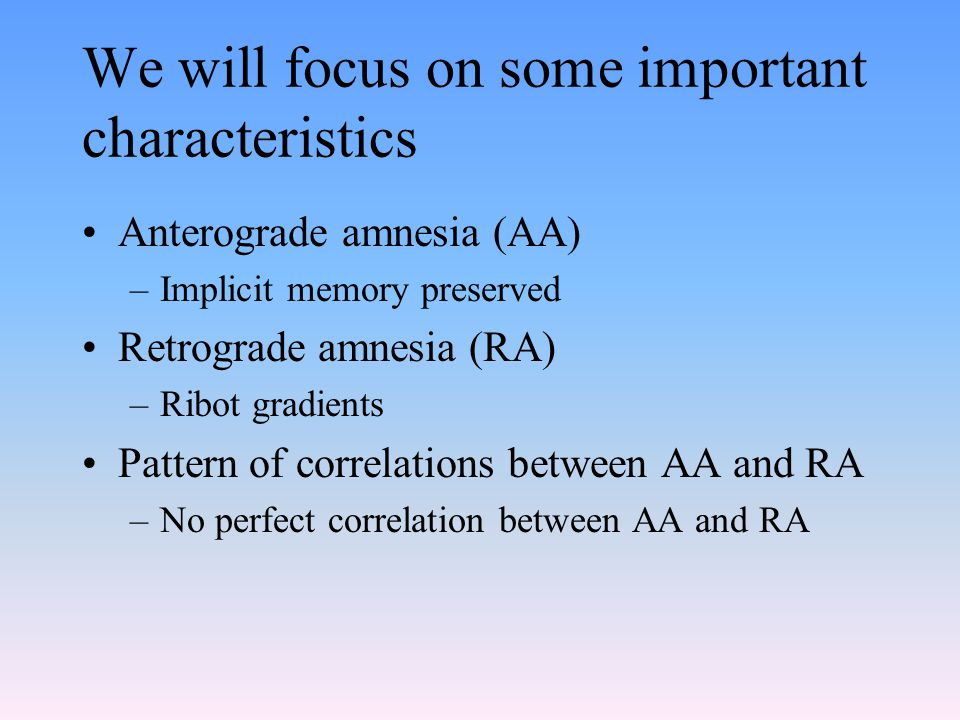 We will focus on some important characteristics