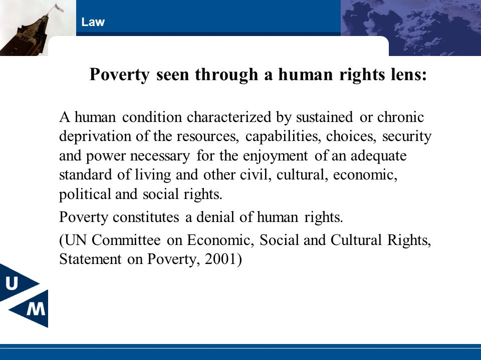 Poverty seen through a human rights lens: