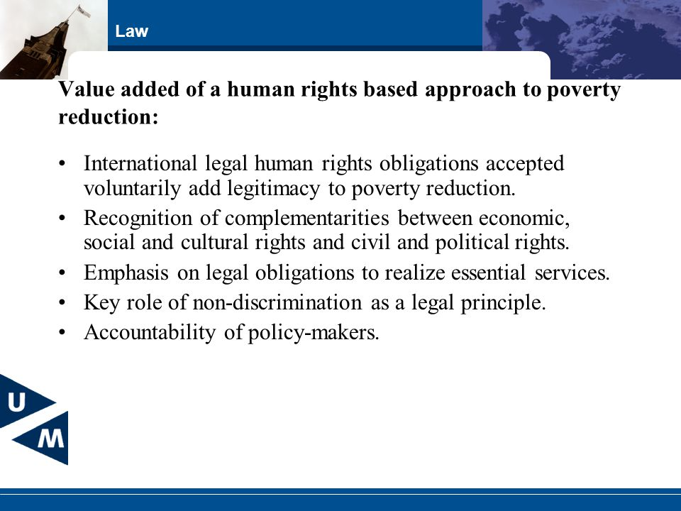 Value added of a human rights based approach to poverty reduction:
