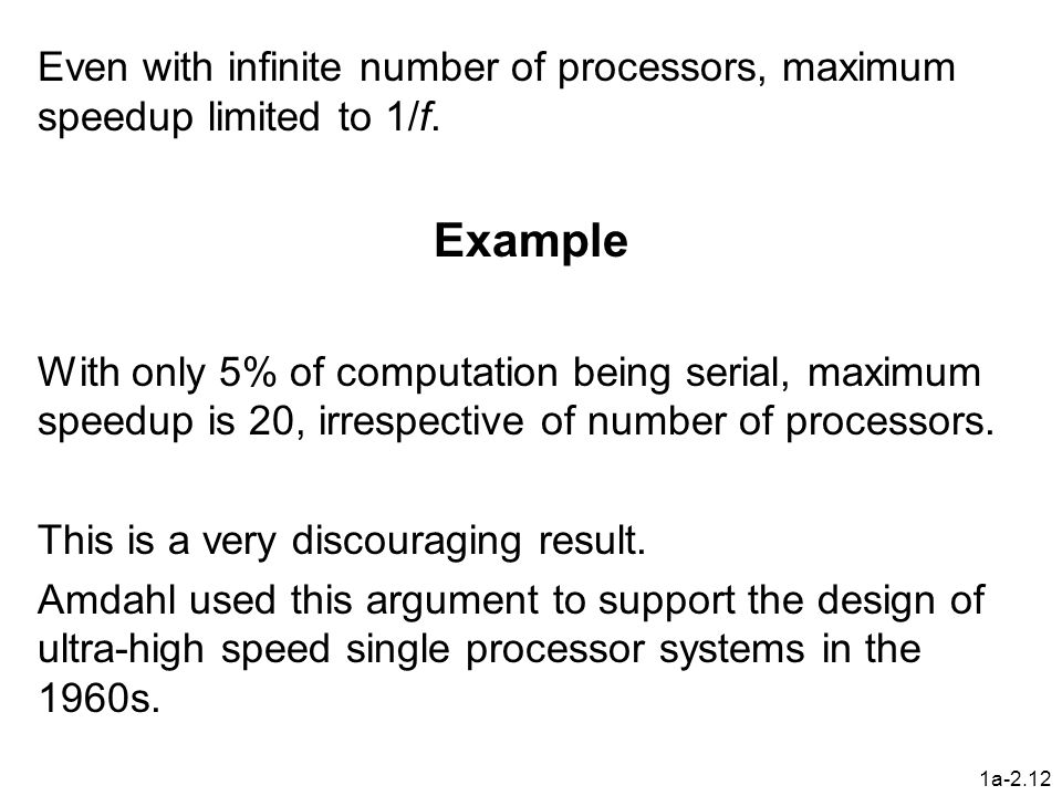 Even with infinite number of processors, maximum speedup limited to 1/f.