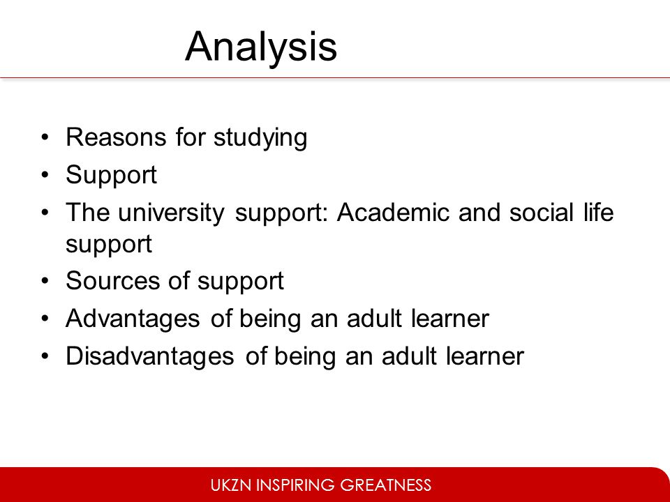 Analysis Reasons for studying Support