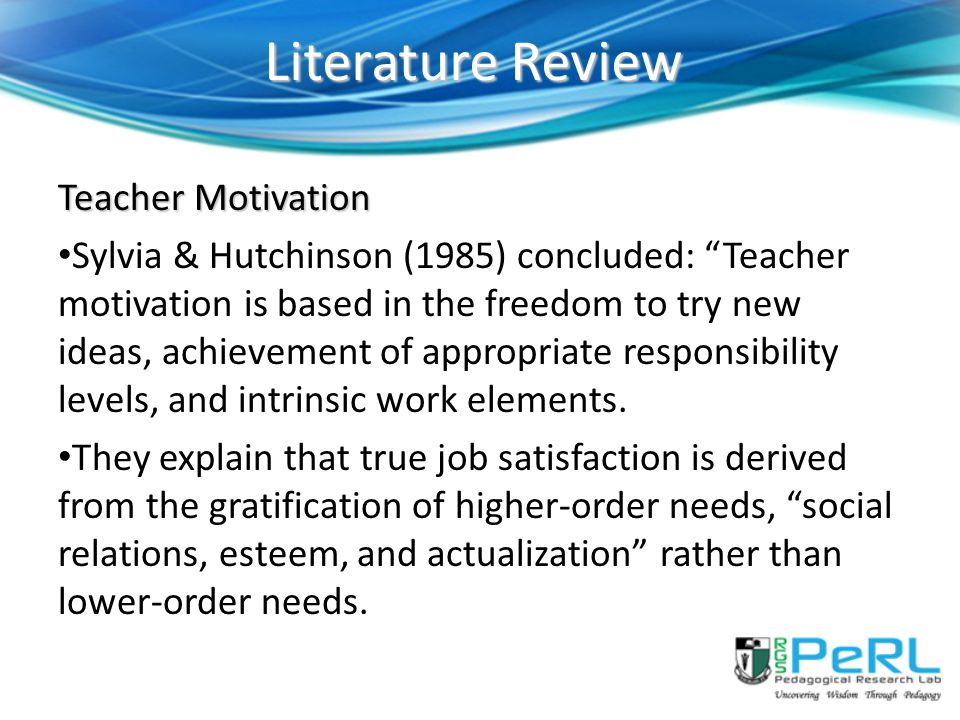 Literature Review Teacher Motivation