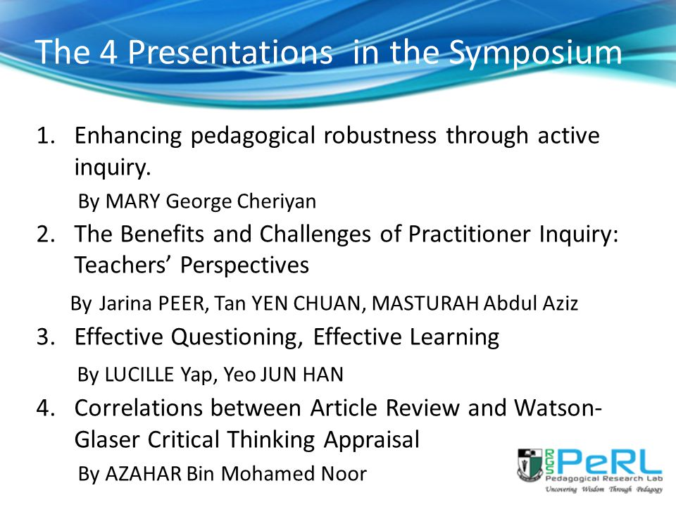 The 4 Presentations in the Symposium