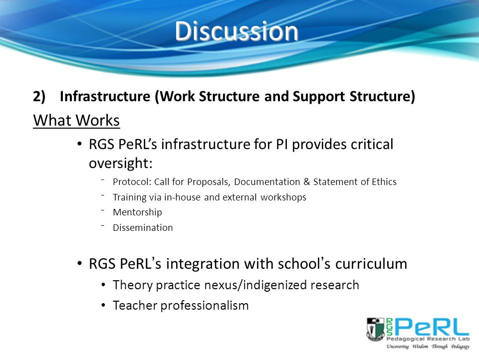 Discussion What Works RGS PeRL's integration with school's curriculum
