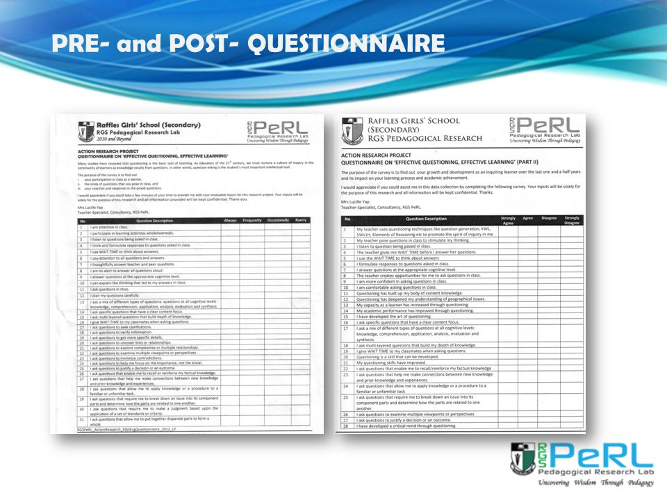 PRE- and POST- QUESTIONNAIRE