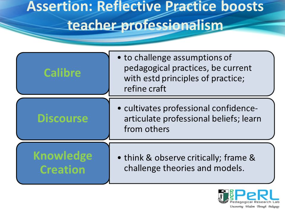 Assertion: Reflective Practice boosts teacher professionalism