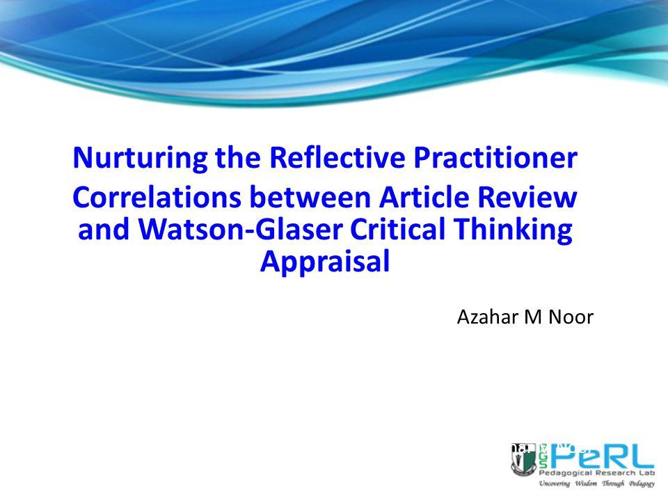 Nurturing the Reflective Practitioner