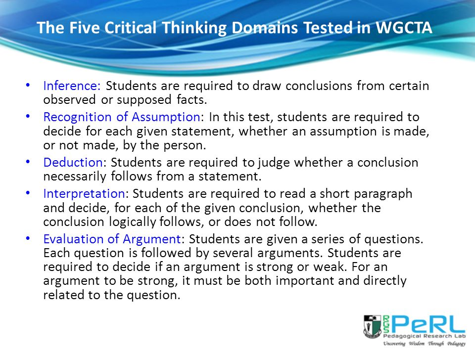 The Five Critical Thinking Domains Tested in WGCTA
