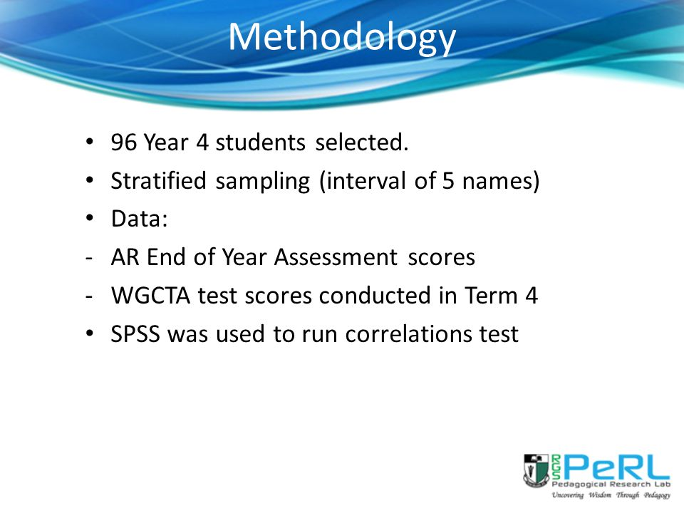 Methodology 96 Year 4 students selected.