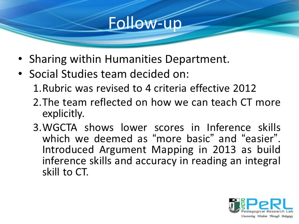 Follow-up Sharing within Humanities Department.