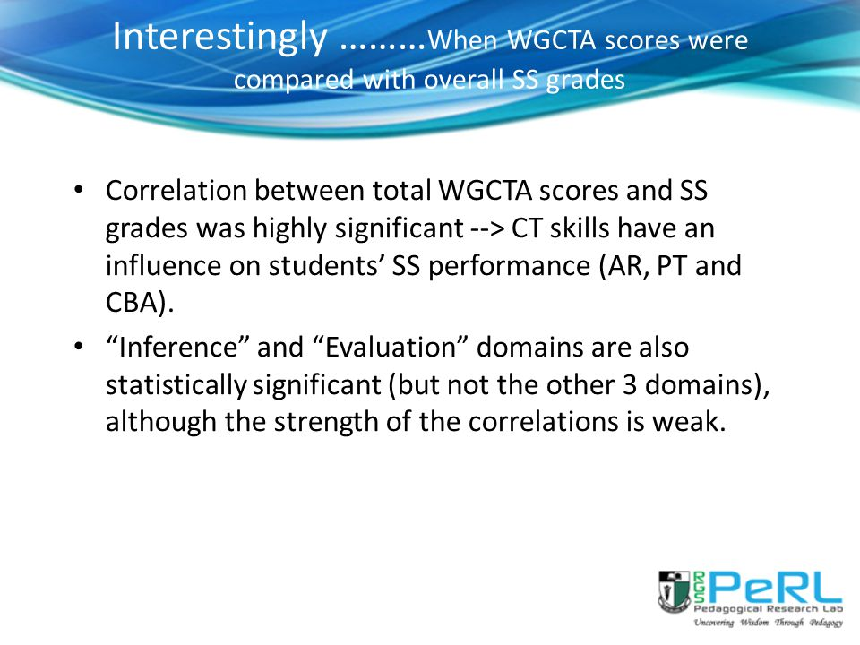 Interestingly ………When WGCTA scores were compared with overall SS grades