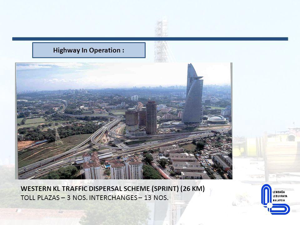 Highway In Operation : WESTERN KL TRAFFIC DISPERSAL SCHEME (SPRINT) (26 KM) TOLL PLAZAS – 3 NOS.