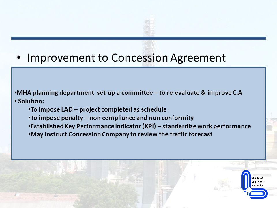Improvement to Concession Agreement