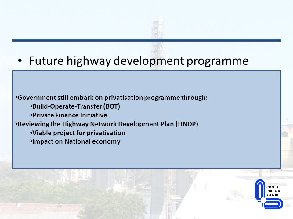 Future highway development programme