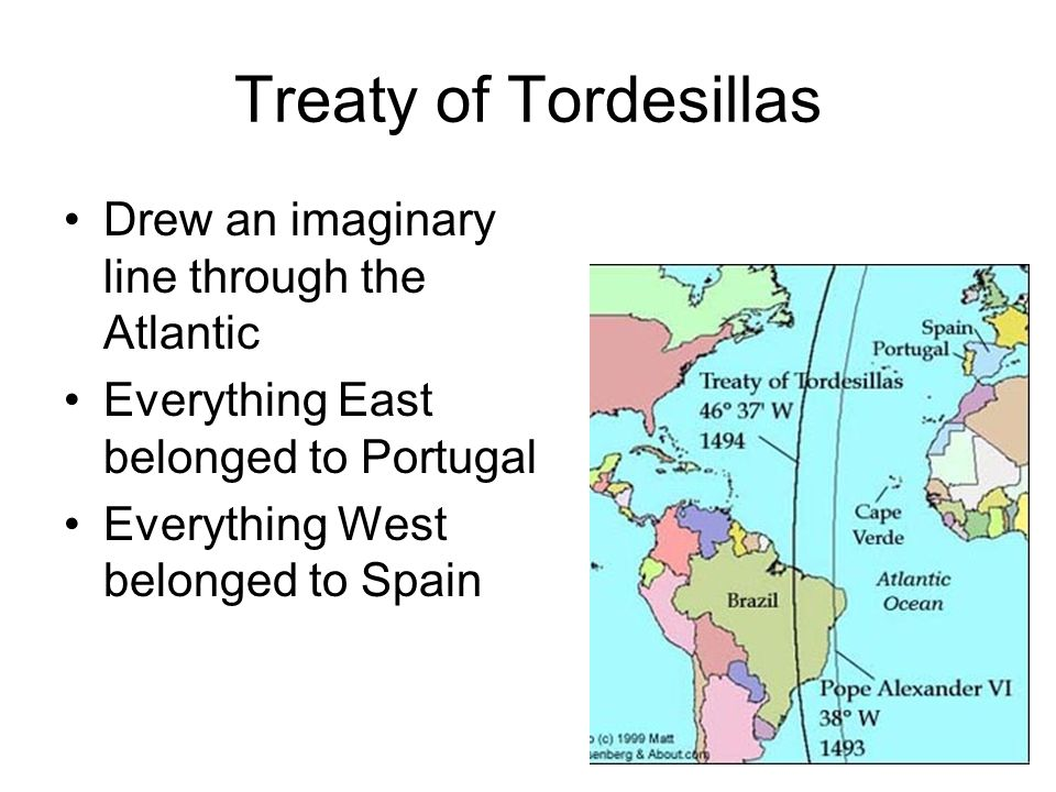 Treaty of Tordesillas Drew an imaginary line through the Atlantic