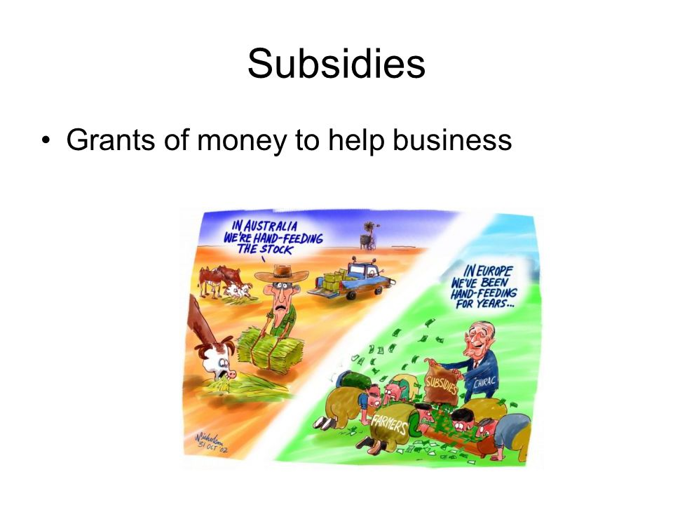 Subsidies Grants of money to help business